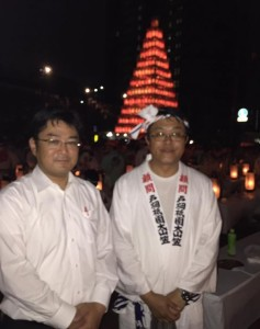 戸畑祇園大山笠祭りにて、岡本北九州市議と
